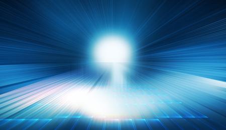 Agrandir les données de transfert d'autoroute ou de tunnel de communication à grande vitesse, concept futuriste