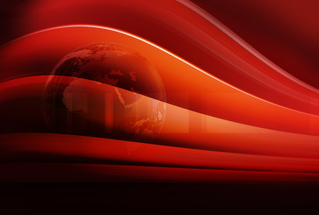 Graphical breaking news background with earth globe and bend curves, red theme background