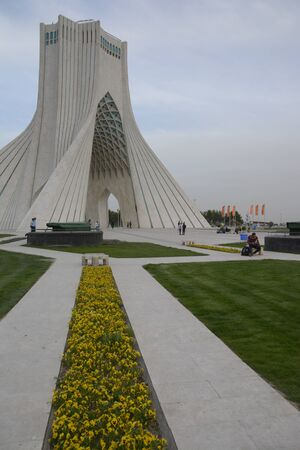 TEHRAN, IRAN - 7 May  2018 Azadi Tower formerly known as the Shahyad Tower is a monument located at Azadi square and is a landmark of Tehran vertical shot