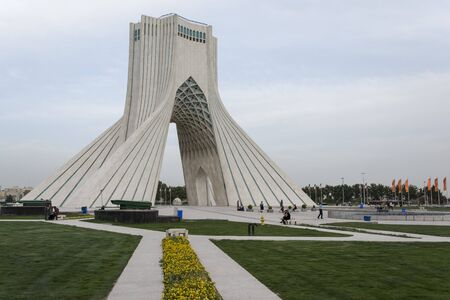 TEHRAN, IRAN - 7 May  2018 Azadi Tower formerly known as the Shahyad Tower is a monument located at Azadi square and is a landmark of Tehran horizontal shot