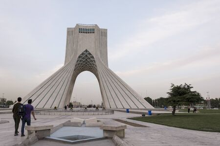 TEHRAN, IRAN - 7 May  2018 Tourist visiting Azadi Tower formerly known as the Shahyad Tower is a monument located at Azadi square and is a landmark of Tehran horizontal shot
