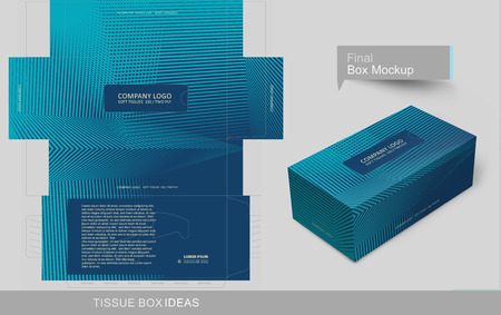 Tissue box template blue line illusion depth concept, template for business purpose