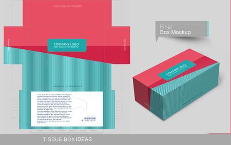 Concepto de caja de pañuelos de colores planos abstractos, plantilla para fines comerciales, coloque su texto