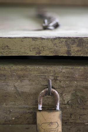 Safe lock on vintage wooden box