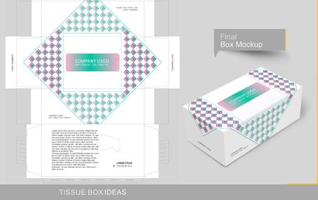 Concepto abstracto de caja de pañuelos, plantilla para fines comerciales, coloque su texto y logotipos y listo para imprimir.