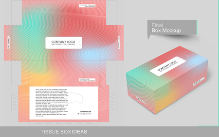 Abstract colorful tissue box concept, template for business purpose, place your text and Logos and ready to go for print.