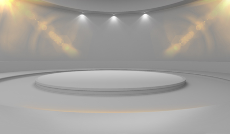 Pedestal for display and advertising, empty product stand with halogen lights on wall and lens flare. 3d rendering