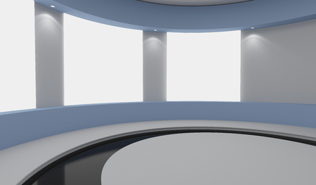 Pedestal for display and advertising, empty product stand with white lightboxes on wall. 3d rendering Banco de Imagens