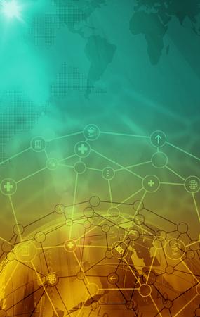 Abstrakter weltweiter Gesundheitshintergrund. Illustration des futuristischen Medizintechnikkonzepts. Leerzeichen für Ihre Inhalte, Kommunikation, Geschäfts- und Webdesign-Vorlage