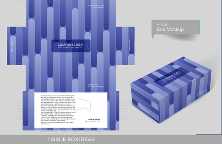 Different purple shade bars tissue box template concept, template for business purpose, place your text and logos and ready to go for print.