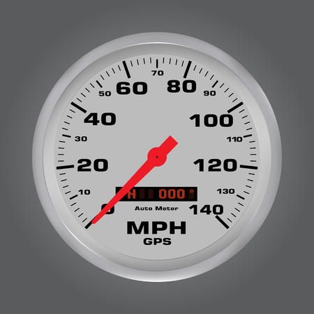 3d speed gauges with metal frame, car speedometer dial vector illustration Illustration