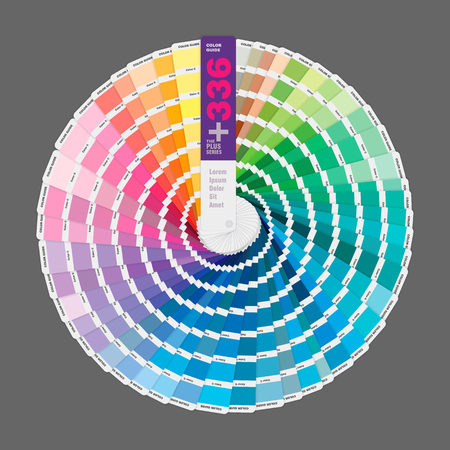 Circular illustration of color palette guide for offset print, guide book for designers, photographers and artists