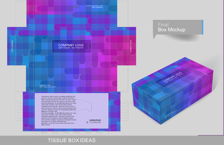 Colorful pattern tissue box concept, template for business purpose, place your text and logos and ready to go for print. Stock Illustratie