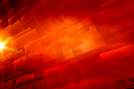 Graphical abstract digital red theme background with binary code and lens flare