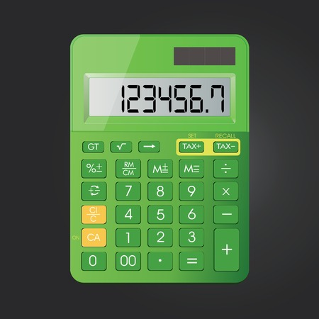 Realistic calculator vector icon isolated on black background, vector illustration.