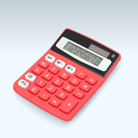 Realistic red calculator vector icon isolated on white background, vector illustration. Stock Illustratie