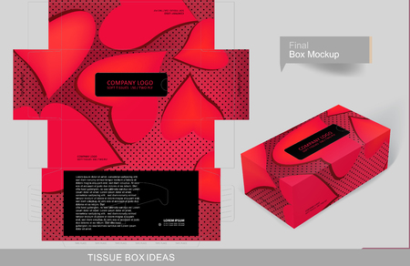 Valentine hears tissue box concept, template for business purpose, place your text and logos and ready to go for print