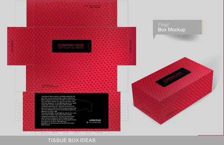 Valentine hears pattern tissue box concept, template for business purpose, place your text and logos and ready to go for print Ilustrace