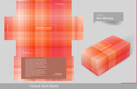 Abstract red monotone pattern tissue box concept, template for business purpose, place your text and logos and ready to go for print