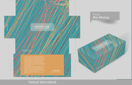 Abstract colorful lines or thread pattern tissue box concept, template for business purpose, place your text and logos and ready to go for print