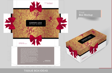 Ribbons and flowers outline tissue box concept, template for business purpose, place your text and logos and ready to go for print Иллюстрация