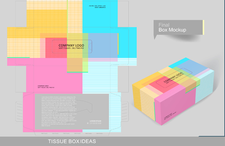 Abstract colorful patches tissue box concept, template for business purpose, place your text and logos and ready to go for print Ilustrace