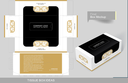 Floral decorated golden element on tissue box, template for business purpose. Place your text and logos and ready to go for print
