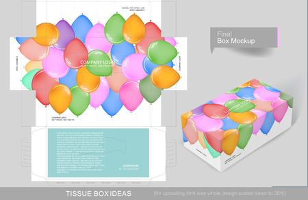 Colorful different size balloons tissue box concept, template for business purpose, place your text and logos and ready to go for print
