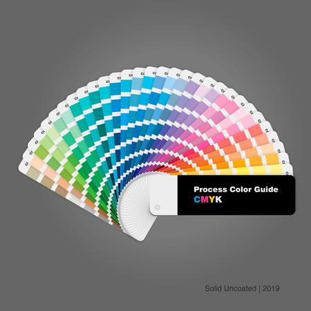 Ilustración de la guía de paleta de colores de proceso cmyk sin recubrimiento sólido para impresión y diseño, ilustración vectorial