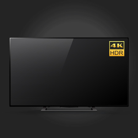 Smart LED Ultra HD TV series isolated on black background, vector illustration