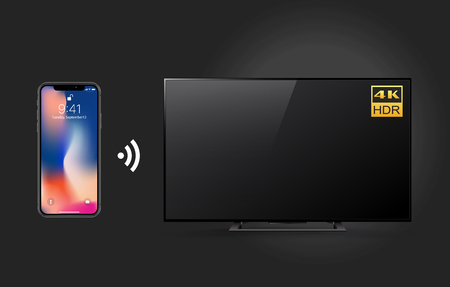 Controlling 4k TV with smartphone and Wifi technology isolated on black background, vector illustration