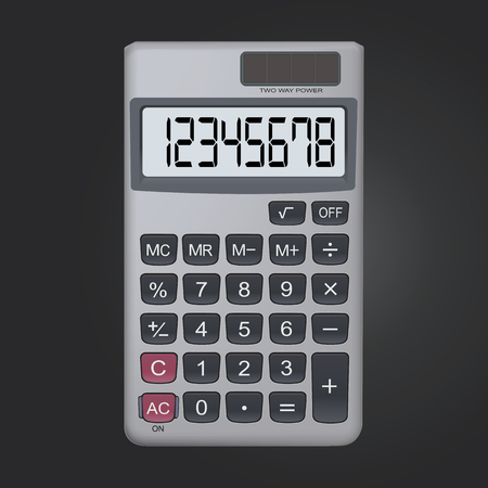 8 digit realistic calculator icon isolated on black background, vector illustration.