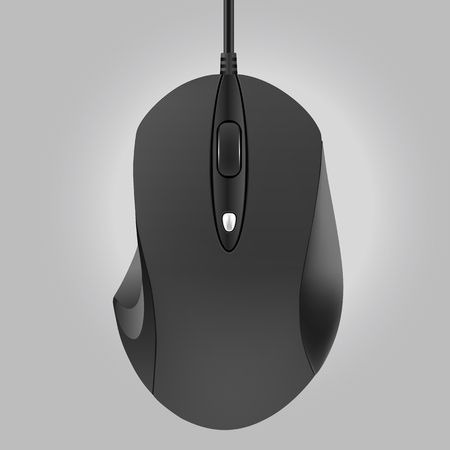 Computer black mouse isolated on gray background, vector illustration