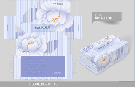 Floral pattern on tissue box, template for business purpose. Place your text and logos and ready to go for print Иллюстрация