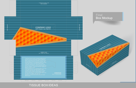 Tissue box template concept, template for business purpose, place your text and logos  and ready to go for print