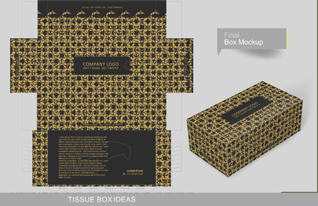Vintage golden elements on black tissue box concept, template for business purpose, place your text and Logos and ready to go for print Çizim
