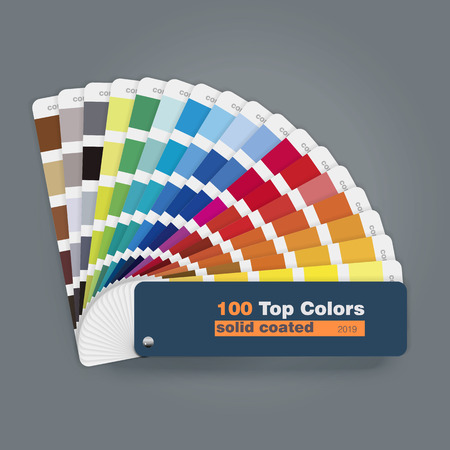 Illustration of 100 top colors palette guide for print, web and multimedia design usage