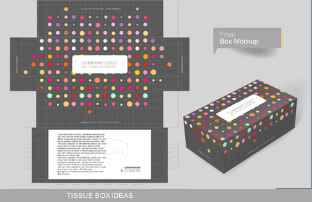 Colorful dots tissue box concept, template for business purpose, place your text and Logos and ready to go for print