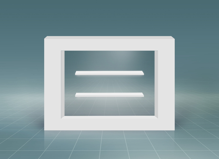 Minimal 3d rectangular frame with empty countertops for product presentation, 3d illustration