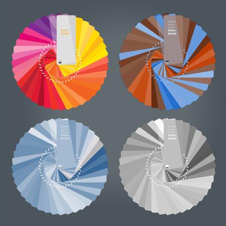 Illustration of color palettes guide for home interior designer-warm colors-monotone and black and white colors, vector illustration Illustration