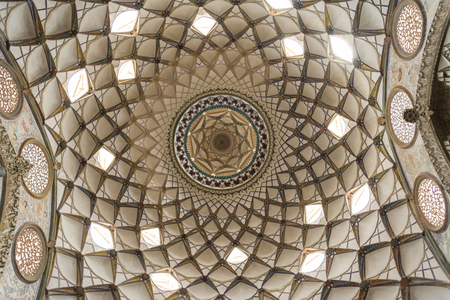 Ceiling pattern in borujerdi house from below viewpoint , kashan, isfahan province, Iran, UNESCO world heritage site