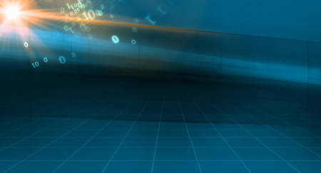 Graphical abstract technology background, 3d space and binary code with sunflare