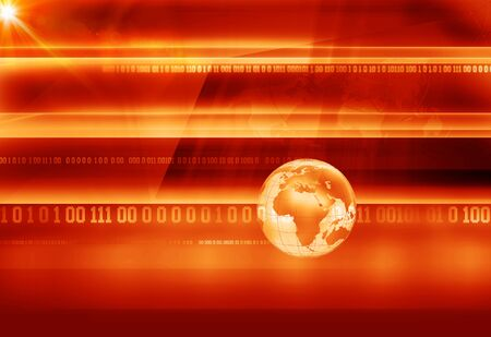 Graphical breaking news background with binary codes and earth globe, digital globe background
