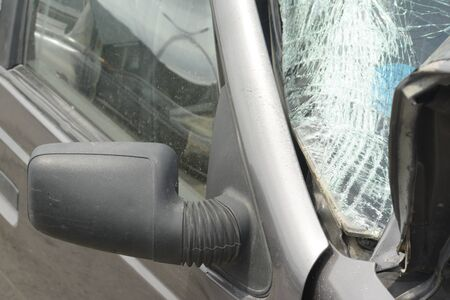 Damaged car body, vehicles accident at road, detail shot