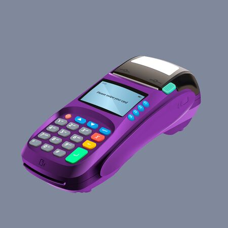 Realistic 3d detailed bank POS terminal mock-up isolated on light blue background