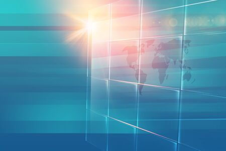 Abstract big flat screen with lens flare at left edge, top news studio background