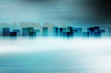 Graphical abstract city skyline with high buildings at horizon Reklamní fotografie