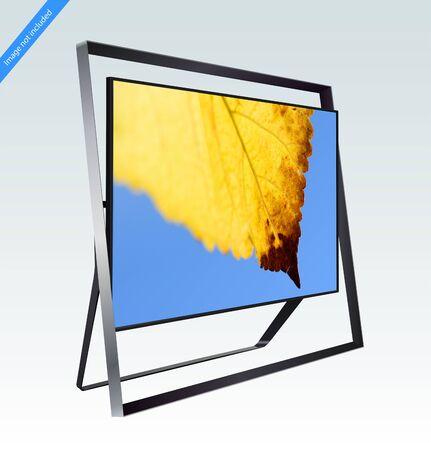 Modern smart LED 8k TV series isolated on light blue background, vector illustration