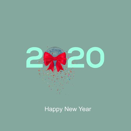 2020 happy New Year earth globe with ribbon and confetti's, vector illustration