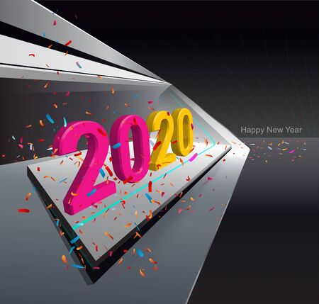 Modern interior space with led lights and 2020 text, vector illustration